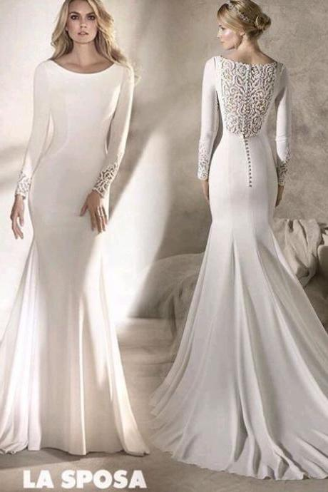 white bridal long sleeves bridal dress mermaid wedding dress