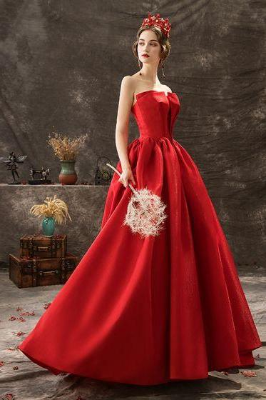 red party dress strapless evening dress backless prom dress