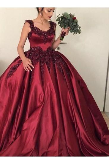 red wedding dress lace applique wedding dress satin wedding dress