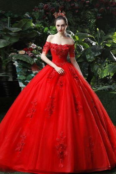 red wedding dress lace applique wedding dress off shoulder wedding dress