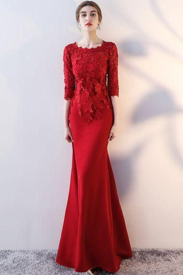red party dress round neck evening dress long sleeve prom dress lace applique formal dress