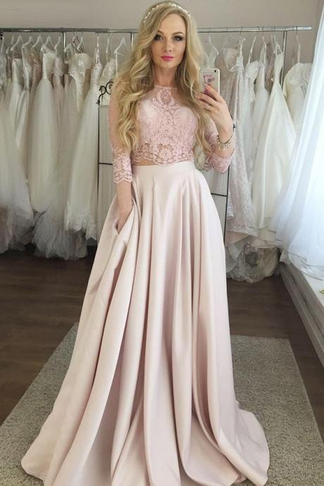Two Piece 3/4 Sleeves party dress Floor-Length Pink evening dress Satin Prom Dress with Lace Pockets