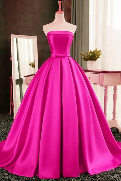 Pink Prom Dress, Ball Gown, Evening Dress,Birthday Party Gown, Homecoming Dress Long, Back to Schoold Party Gown