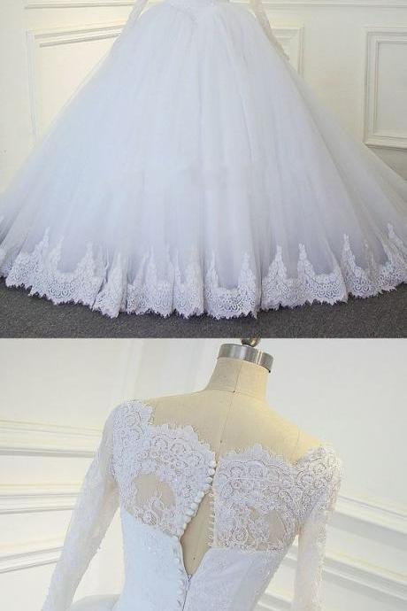 New Arrival Long Prom Dress,Sexy ball gowns,Formal Long Sleeve Appliques White Tulle Ball Gown Wedding Dresses,new fashion