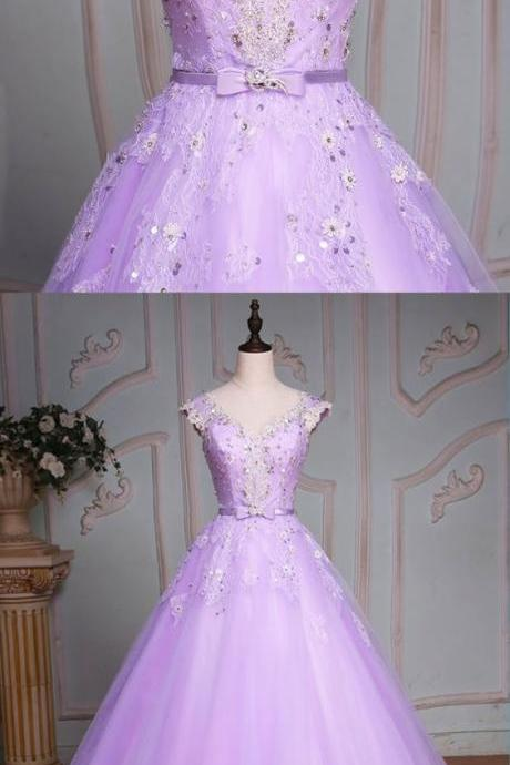 Lavender tulle cap sleeve beaded long evening dress, senior lace prom dress