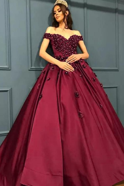 Gorgeous Satin Prom Dresses, Off-the-shoulder Neckline Ball Gown ,Prom Dress With 3D Lace Flowers & Rhinestones,Evening Dress