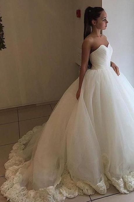 Cheap wedding dresses Flowers Ball Gown Sweetheart Wedding Dress with Train