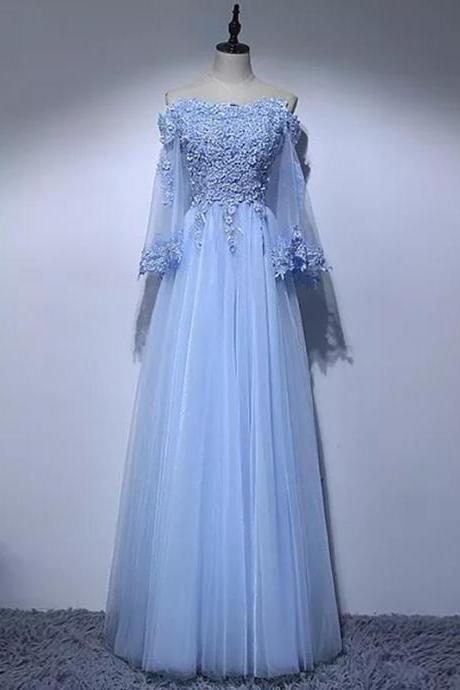 A-line Off-the-shoulder Floor-length Long Sleeve Tulle Prom Dress/Evening Dress