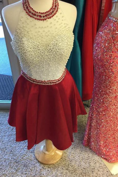 Pearl Beaded Homecoming Dress,Satin Dress,Short Prom Dresses,Burgundy Homecoming Dress
