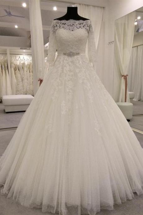 lace wedding dress,off the shoulder wedding dress,real sample wedding dress,princess bridal dress,3/4 sleeves wedding dress