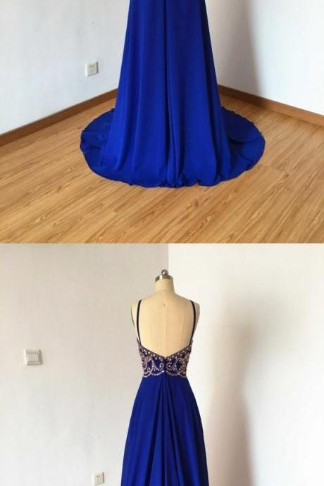 Royal Blue Prom Dress ,Long Homecoming Dress, Back to Schoold Party Gown