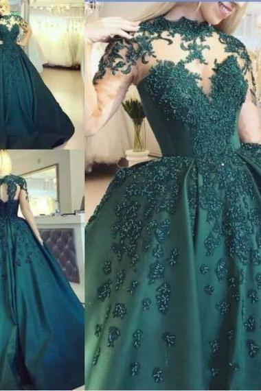 Hunter Green Ball Gown Prom Dresses With Illusion Bodice Long Sleeves