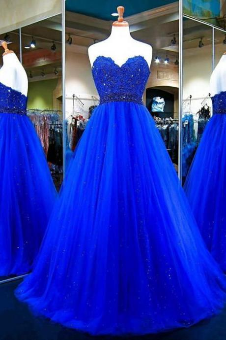 Strapless A-line Tulle royal Blue Prom Dress lace Appliques Beaded Women Dress