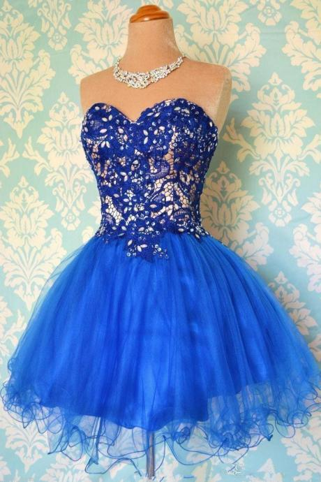 Royal Blue Homecoming Dress with Crystals