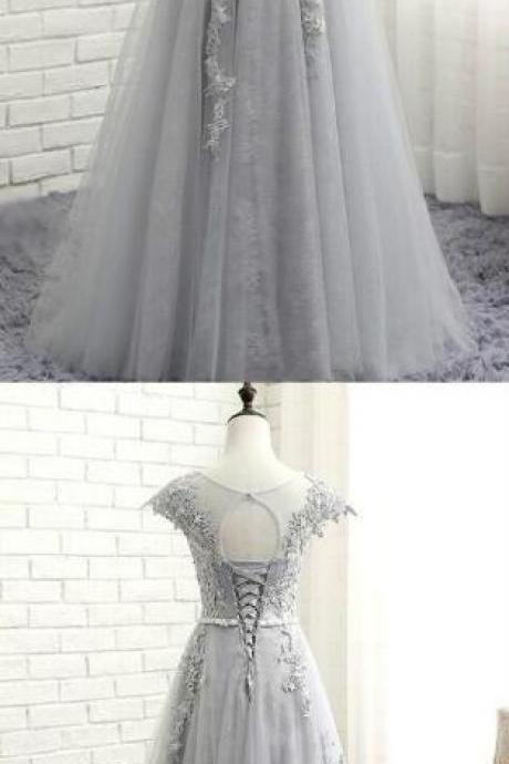Lace Applique Prom Gowns,Sexy Prom Dress,Cheap Prom Dress,Gray Evening Dresses, A-Line Evening Gowns