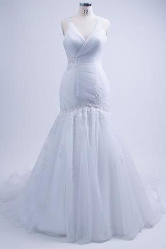 Wedding Dresses,Tulle White Wedding Dresses,Crystal and Beaded Bridal Dress,Wedding Gowns