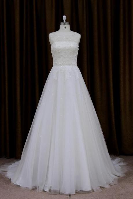 Charming Wedding Dress,Tulle Wedding Dresses,A Line Wedding Bridal Dress
