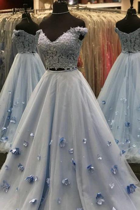 Lace and Tulle Two Piece Prom Dresses,Light Sky Blue Prom Dresses