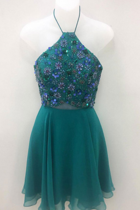 A Line Green Chiffon Short Prom Dresses,Sequins Cute Mini Homecoming Dresses, Sleeveless Party Dress,Homecoming Dresses