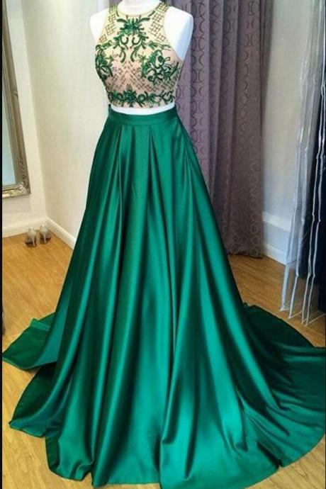Charming Beaded Halter Neck Green Satin Long Prom Dresses Plus Size Two Pieces Homecoming Dress, A Line Prom Gowns 2020