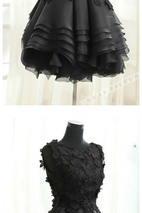Black tulle lace round neck short dress,homecoming dresses