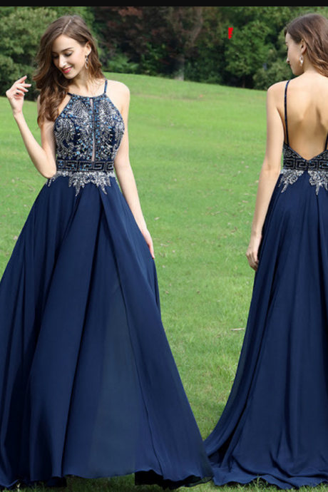 Beautiful A-Line Halter Dark Navy Chiffon Backless Long Prom/Evening Dress with Beading