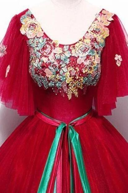 Red Tulle Embroidery Applique Short Sleeve Long Prom Dress, Quinceanera Dress With Sash