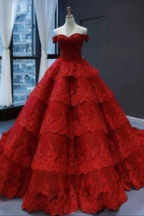 Red Lace Multi-layered Sweetheart Formal Prom Dress, Evening Dress