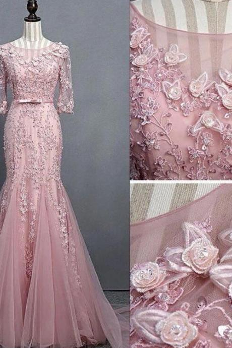 PINK ROUND NECK TULLE LACE MERMAID LONG PROM DRESS, PINK EVENING DRESS