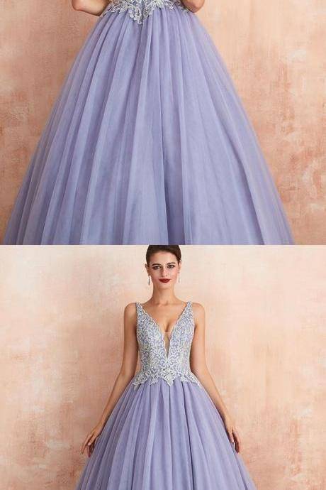 v-neck beading lace bodice lavender pleated evening gown