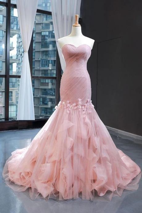 Pink Sweetheart Tulle Prom Dress Mermaid Formal Ball Gowns Gorgeous Evening Dress with Sweep Train