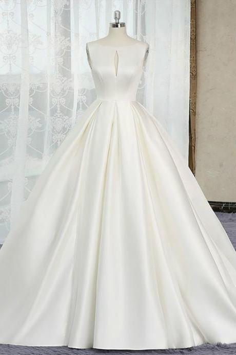 Ivory White Ball Gown Satin Cut Out Backless Wedding Dress,