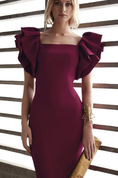 Burgundy Ruffles Shealth Short Prom Dress Cocktail Party Dress