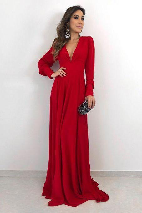 Long Sleeves Red Woman Maxi Dresses Prom Dress Long Evening Dress