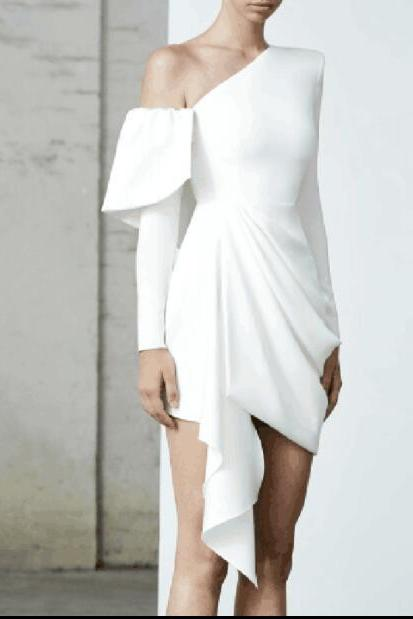 New Arrival One Shoulder White Chiffon Short Homecoming Dress ,Sheath Prom Gowns Mini ,Short Cocktail Gowns