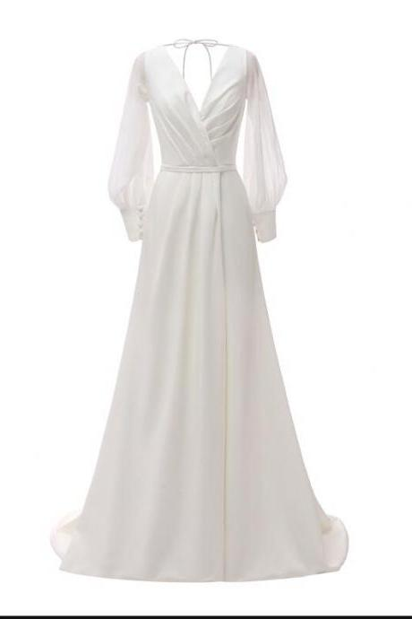 Fashion White Chiffon Ruched Women Prom Dress Custom Made Long Prom Party Gowns