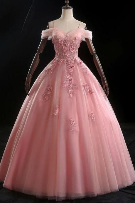 Sweetheart Neck Pink Tulle Spaghetti Straps A Line Long Formal Prom Dress