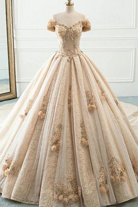 Princess Champagne Lace Off Shoulder Court Train Beaded Wedding Dress, Formal Prom Dress