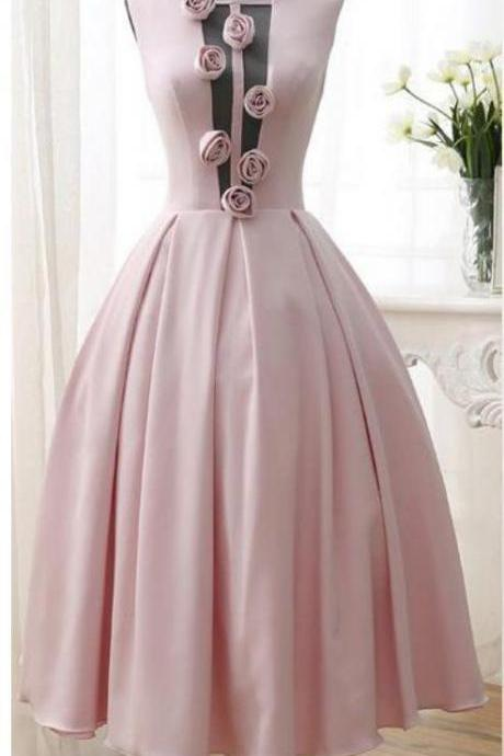 3D-Floral Flowers Homecoming Dresses Tea Length Sexy Low V Back Pink Girl Prom Dresses