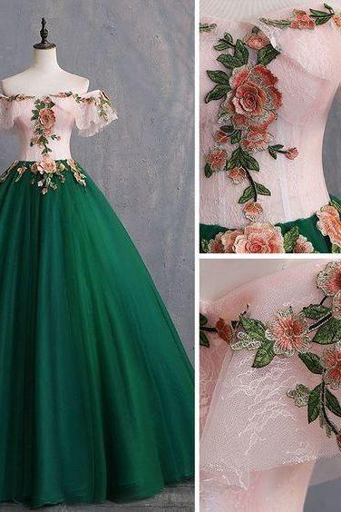 Vintage Dark Green Prom Dresses Ball Gown Appliques Lace Off-The-Shoulder Short Sleeve Backless Floor-Length / Long Formal Dresses