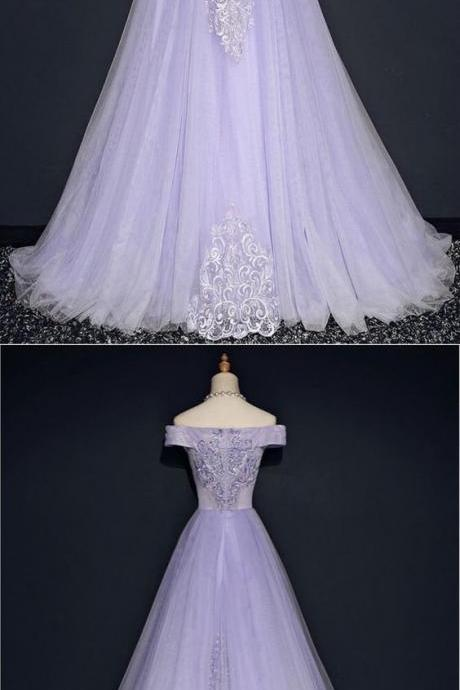 Lavender Off Shoulder Lace And Tulle Party Dress Cute Long Evening Gowns
