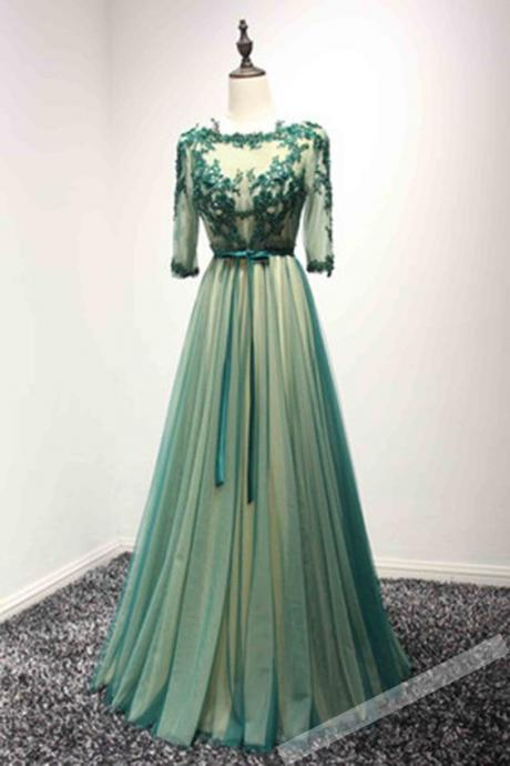 green tulle prom dress, long prom gown with sleeves, long prom dress