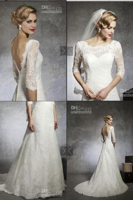 Alexander 8666 Lace Wedding Dresses Bateau V Neck 3/4 Sleeves Beaded Peated Covered Button Court Train Bridal Dresses Bridal Gowns