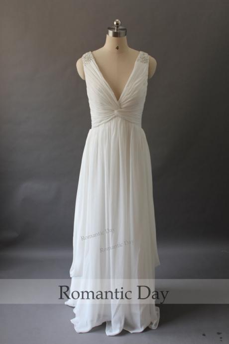Simple and Elegant Deep V-Neck Ruched Beaded Chiffon A-line Wedding Dress, Beach Wedding Dress