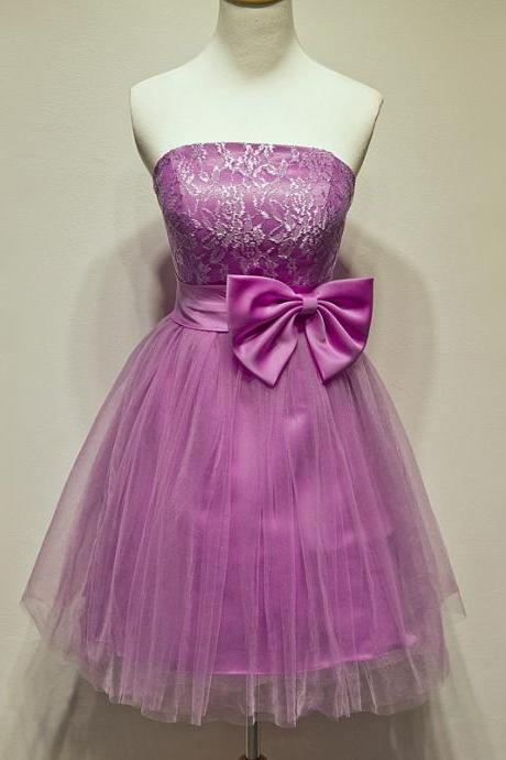Strapless A-Line Appliques Short Tulle Homecoming Dresses With A Bow Lovely Party Dresses