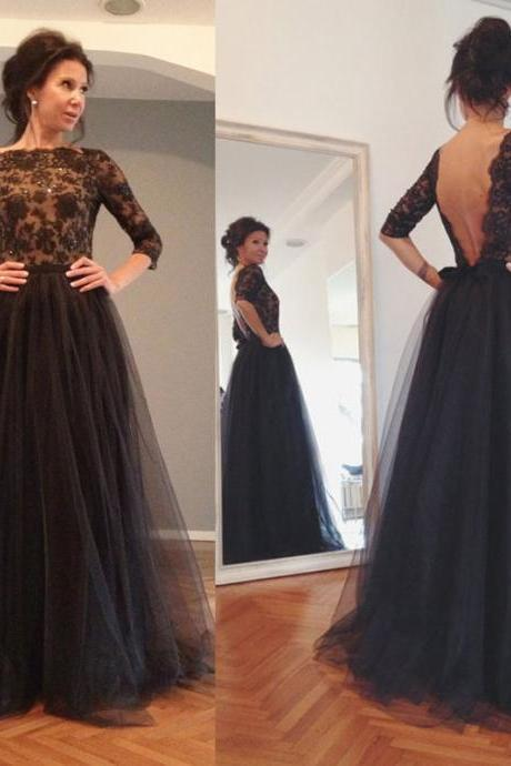 A Line Tulle Evening Dress,Beaded Long Sleeve Formal Party Dress New Arrival Black Prom Dress With Appliques prom dresses