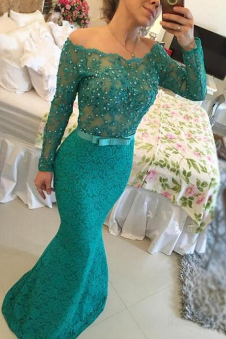 Mermaid Prom Dress/Evening Dress - Dark Green Bateau Neck Beading 2016
