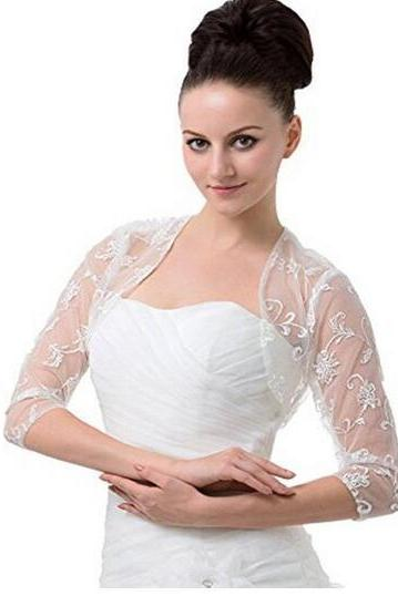 wedding dresses prom dresses bdidal dresses Women's 3/4 Sleeves Lace Bridal Gown Bolero Jacket