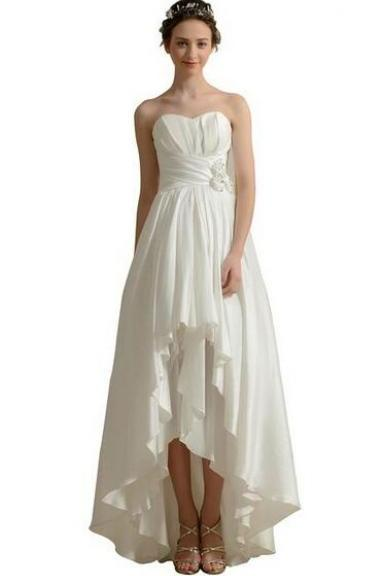 Prom Dresses ,Chiffon Prom Dresses bridal dresses Dresses Women's High Low Strapless Taffeta Beach Wedding Dress