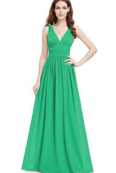 Elegant V-neck Long Chiffon Crystal Maxi Evening Dress